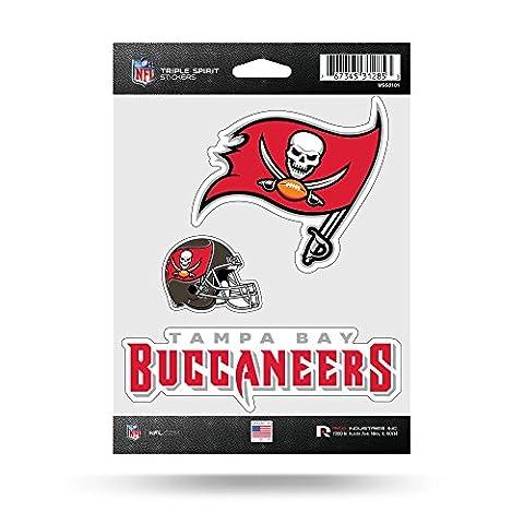 NFL Tampa Bay Buccaneers Triple Spirit Stickers, Red, White, Grey,