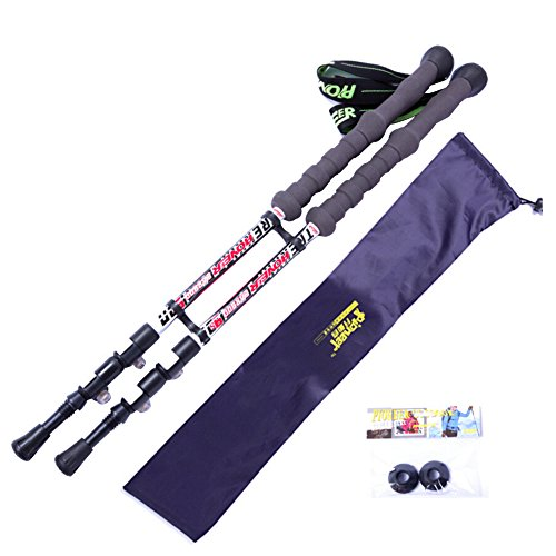 Onezi Ein Paar 4 Schichten Von Oxidations und Anti-Tragen aus Carbon Fiber Trekking Pole Giving a Carrying Bag Trekkingstock Gehstock Alpenstocks Outer Locking Plus Samt Handgelenkriemen Anti-Schock-S white£¨A pair£©