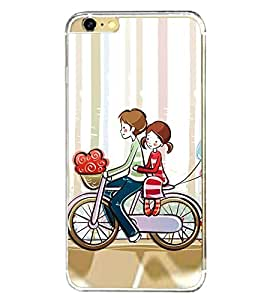 Love Couple on Cycle 2D Hard Polycarbonate Designer Back Case Cover for Apple iPhone 6 Plus :: Apple iPhone 6+