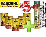 Bardahl Olio Motore Auto - Totalmente Sintetico XTC C60 5W-40 - Offerta 5 Litri + Shell Advance Helmet & Visor Spray - Pulitore Casco - Finestrini Auto - Piastrelle, specchi e vetri casa