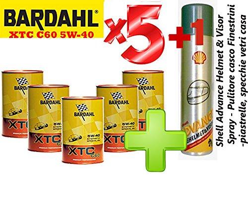 Bardahl Olio Motore Auto - Totalmente Sintetico XTC C60 5W-40 - Offerta 5 Litri + Shell Advance Helmet & Visor Spray - Pulitore Casco - Finestrini Auto - Piastrelle, specchi e vetri cas