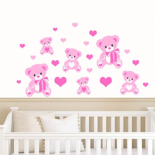 Teddy Bears & Hearts - Pink - Childrens Nursery Printed Wall Art Vinyl Stickers - Designed by Rubybloom Designs