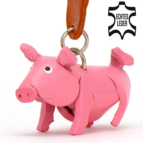 Schweinchen Babe - Schwein Schlüsselanhänger Figur aus Leder in der Kategorie Kuscheltier / Stofftier / Plüschtier von Monkimau in rosa - Dein bester Freund. Immer dabei! - 5x2x4cm LxBxH klein, (Partner Bester Kostüme Freund)