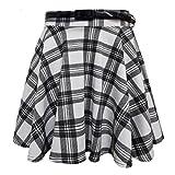 Women's Ladies Skater Belted Stretch Waist Plain Flippy Flared Jersey Short Skirt UK Plus Size 8-22