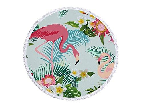 Regalo piante tropicali rotonde asciugamano stampato con fiori e fenicotteri con nappe asciugamano assorbente con colori magnetici e asciugamani morbidi coperta in microfibra 150x150cm per il bambino