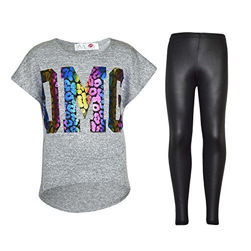 Kinder Mädchen OMG Aufdruck T-Shirt Top & Lack-optik Leopard Leggings Outfit-Set 7 8 9 10 Jahre alt 11 12 13 Jahre - Graue Top & Lack-optik Leggings, 146-152