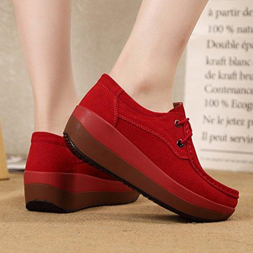 Z.SUO Mocassini Donna in pelle scamosciata Moda comode loafers scarpe da guida Rosso