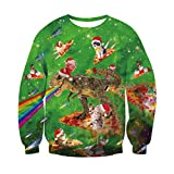 RAISEVERN Papa Mama Junge Mädchen 3D Cool Print Santa Tier Grafik Weihnachten passenden Pullover Langarm Tops Xmas Pullover XL