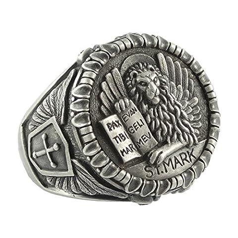 fabriqué à la main en argent sterling Bague homme vénitien Lion de St. Mark Évangéliste Saint Markus Apôtre) chrétienne, catholique, Église Orthodoxe, templier - Z+1