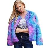 iYmitz Damen Warm Faux Pelzmantel Jacke Winter Farbverlauf Parka Oberbekleidung Hipster Überzieher (X2-Blau,EU-34/CN-S)