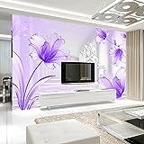 YShasaG Benutzerdefinierte Wandbild Tapete Lila Lilie Blume Stereoskopische Abstrakte Kunst Wandmalerei Wohnzimmer Sofa TV Hintergrund Fototapete, 368 cm x 254 cm
