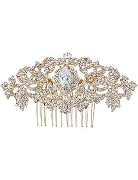 EVER FAITH® österreichischen Kristall elegant Braut Träne Form Vintage Retro-Stil Blätter Haarkamm Haarschmuck