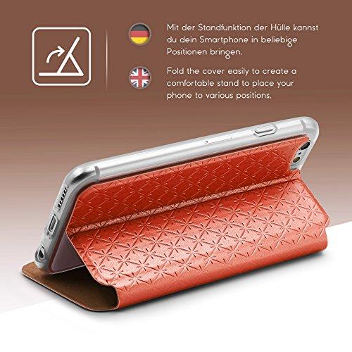 Urcover® Apple iPhone 6 / 6s Sunflower Wallet Handy Schutz-Hülle in Weiß mit [ Easy-Stand & Kartenfach ] Smartphone Zubehör Tasche Schale mit Magnet Case Cover Etui Orange