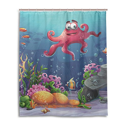 jstel Decor Vorhang für die Dusche Octopus Coral und bunte Reefs Algen Sand Muster Print 100% Polyester Stoff Vorhang für die Dusche 152,4x 182,9cm für Home Badezimmer Deko Dusche Bad Vorhänge (Coral Reef Duschvorhang)