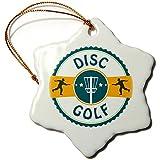polpdid Orn _ 174727_ 1Disco de Golf de silueta de Putters tirar en un adorno de Disc Golf cesta copo de nieve, porcelana, 7,62cm