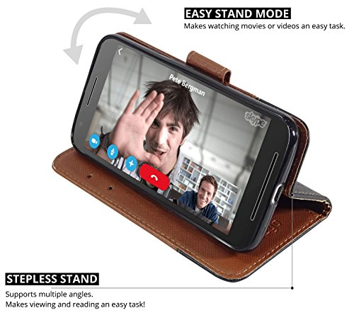 Ceego Wallet Flip Cover for Moto E3 Power – [Credit Card Slots & Wallet] [Ultimate Value for Money] – EcoGo Series Motorola Moto E3 Power / Moto E3 Flip Case – Brown & Black Fusion