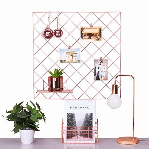 Moseley Rose Gold Foto Aufhängen Display, Wand Grid Panel für Display Dekoration und Speicherung, Größe 59,9x 59,9cm/Rose Gold/Kupfer