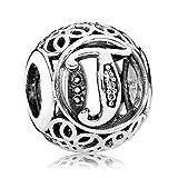 Lily Jewellery vintage Lettre A-Z clair CZ Argent sterling 925Pour bracelet Pandora Charm Bracelet - Letter T