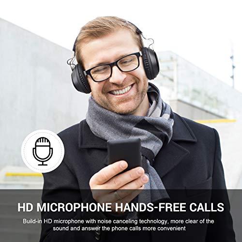 OneAudio Bluetooth 5.0 Kopfhörer, Kabellose Over Ear Kopfhörer mit eingebaute Mikrofon und Klarem Bass, Dual 40mm Treiber Verstellbare Blootooth Headset mit Soft Memory-Protein Ohrenschützer - 3