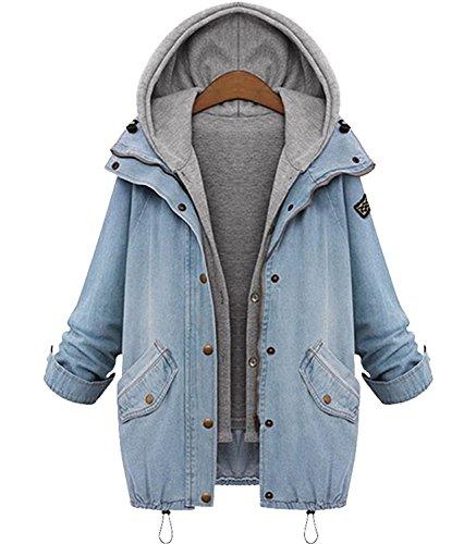 Minetom Damen Herbst Jeansjacke Wintermantel Denim 2 in 1 Kurzjacke Freizeit Hoodie Parka Outwear Blau DE 36