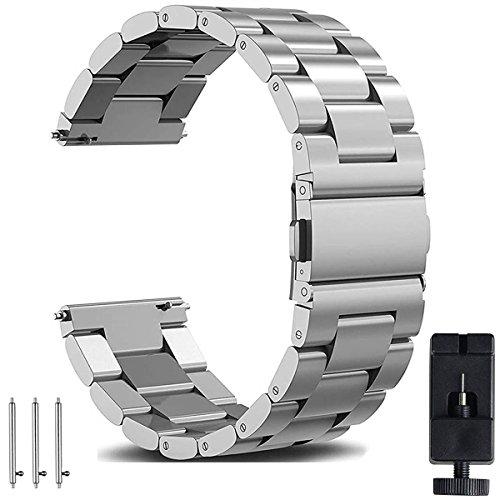 OTOPO Bracelet Galaxy Watch 46mm, 22mm Acier Inoxydable Solide Bracelet de Montre Bracelet de Remplacement pour Samsung Galaxy Montre 46 mm Sm-r800 & Ticwatch Pro Smartwatch métal argenté