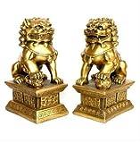 Chinesische Messing Kupfer Statue Foo Hunde Löwen Paar