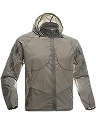 Free soldier Hombre Deporte de chaqueta ligera Fashion ultrafina cortavientos cremallera Abrigos Quick Dry Piel Piel (Muddy S)