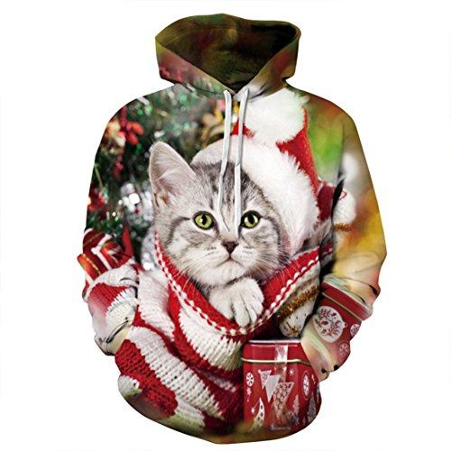 Lebendige 3D Katze Bedruckt Herren Großes Sweatshirt Mit Kapuze (Hässlich Pullover Weihnachten Anzug)