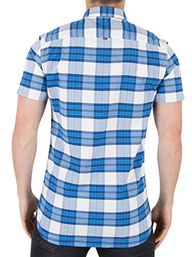 Superdry Homme Université ultime Shortsleeved Oxford Shirt, Bleu Bleu