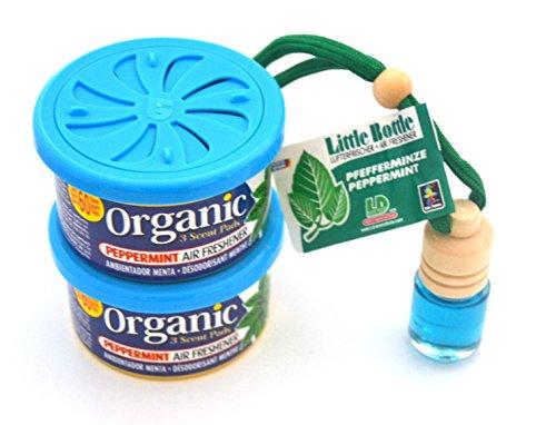L&D 2 + 1 Duft Trio in der Duftsorte Peppermint - Pfefferminze. 2 x Organic Scent Duftdose + 1 Little Bottle Duftflakon Lufterfrischer. -