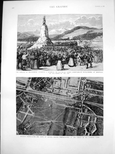 Copie antique de montre noire commémorative Aberfeldy 1887 de ballon de photo de Rennes par original old antique victorian print
