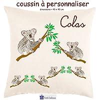 Texti-cadeaux, Coussin toucher très doux, motif Koala à personnaliser avec Prénom…