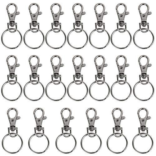 Trixes 20 X kleine Karabiner abnehmbare schwenkbare Key Split-Ring-graue Farbe -