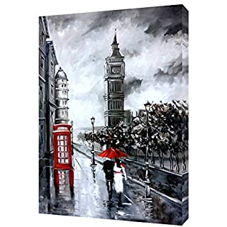 BIG BEN RED PHONE BOX UMBRELLA COUPLE LONDON PRINT ON WOOD FRAMED CANVAS PICTURE WALL ART HOME DECORATION 20 x 16 inch -18mm depth