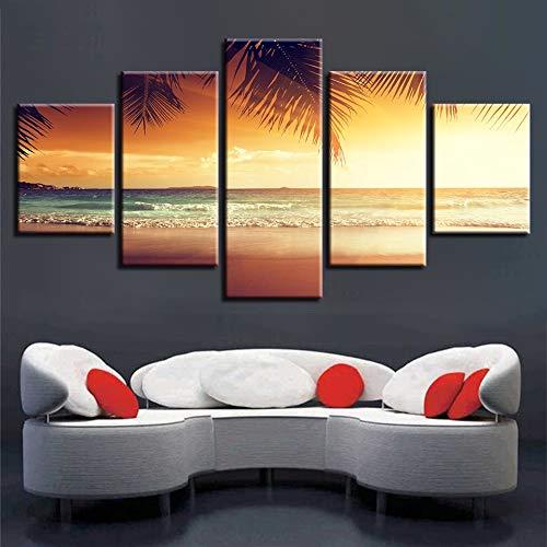 mmwin HD Gedruckt Bilder Wandkunst 5 Stücke Strand Und Palme Sonnenschein Seascape Modulare Leinwand Dekoration Home Wohnzimmer