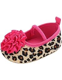 BeautyTop Scarpe da Principessa Neonata Bambina Ballerina Ragazze Suola Morbida Culla Mary Jane Basse Fiore Scarpe da Barca Pantofole Sandali Partito Formale (0-6 Mesi, Rosso)