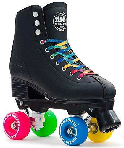 Rio Roller Figure Enfants/Adultes Quad Patins à roulettes Noir (UK 4 Euro 37)
