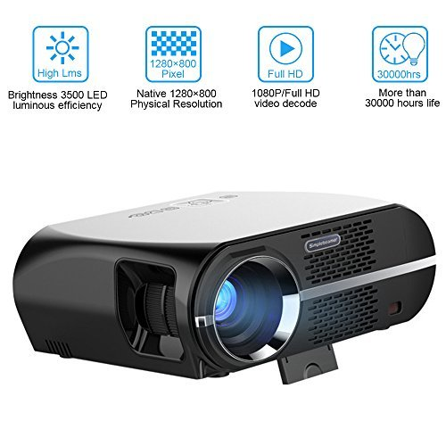 HD Beamer 3500 Lumen, GOXMGO LED-Heimprojektor 1280x800 Video Beamer WXGA-Auflösung Unterstützung 1080 P HDMI USB VGA für Heimkino-Theater Video Movie Projektor