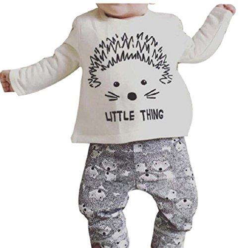Overdose 1Stellen Säuglings Baby Jungen Mädchen Karikatur Druck-T-Shirt Tops + Pants Outfits Kleidung (70, Weiß)