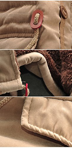SODIAL(R) Neue Maenner Jacke Winter Warmes Vlies Mantel schwarz XL Khaki