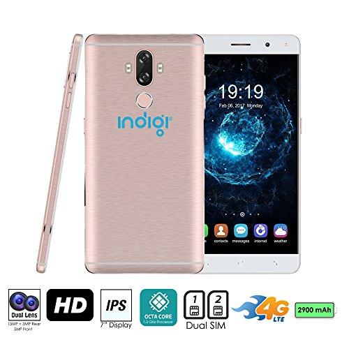 GSM entsperrt 4G LTE 6Smartphone von Indigi® (Octacore Prozessor @ 1,3GHz + Android 7nougat oS + Fingerabdruck Scanner + DUALSIM + 13MP Kamera) (Rose Gold) Entsperrt Handys Tracfone