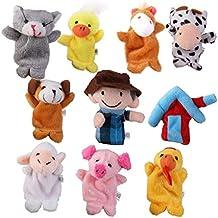 10pcs Juguete Educativo Marioneta de Mano Títeres de Dedos Patrón Granja de Old MacDonald para Canción Infantil Cuento De Hadas