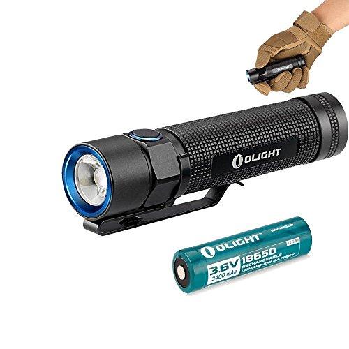 Olight® S2 Baton - Lampe Torche LED Cree XM-L2 CW 950 Lumens Etanche IPX8 Grande Autonomie 24 Heures, Lampe de Poche + 1*Pile Rechargeable 18650 3400mAh