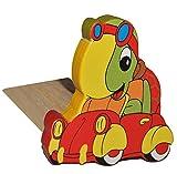 Türstopper / Fensterstopper / Unterlegkeil - aus Holz - Schildkröte im Auto - Türkeil / Klemmschutz / Türpuffer / Holztürstopper - Kinderzimmer - Tür - für Kinder / Jungen / Mädchen / Baby - Tier