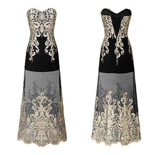 Da donna elegante retro ricamo pizzo maglia tubo abiti per le amiche della sposa nozze partito , black , m