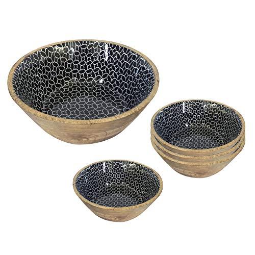 casamia Salatschüssel Set 5-teilig mit 4 Müslischalen Mangoholz mit Keramikdekor lebensmittelgeeignet Farbe schwarz/weiß