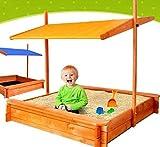 Fantastic Wooden SAND BOX Sandbox Sandpit With Seats and Adjustable BLUE Canopy for Kids Children