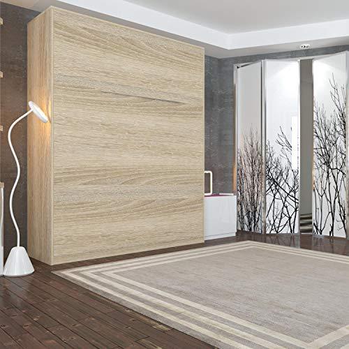 Schrankbett 160 x200 Vertikal Eiche Sonoma mit Gasdruckfedern, ideal als Gästebett – Wandbett, Schrank mit integriertem Klappbett, Schrankklappbett & Wandbett, SMARTBett - 2
