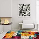 Lalee Moderner Designer Esprit Teppich Flachflor Regenbogen Quadratisches Muster Bunt, Größe in cm:80 x 150 cm
