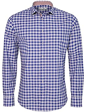 Trachtenhemd Body Fit Zenz zweifarbig in Blau und Rot von Gweih & Silk